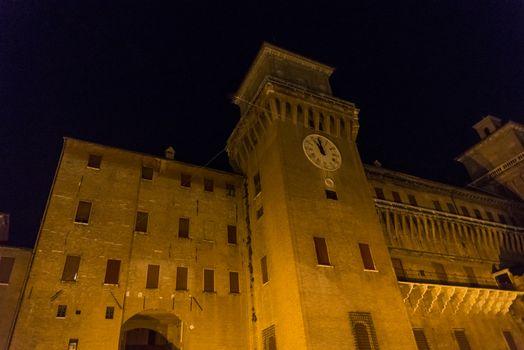 Night view of the Estense castle in Ferrara, Emilia Romagna, Italy