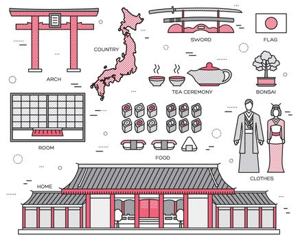 Country Japan trip of goods, places and features in thin lines style design. Set of architecture, fashion, people, items, nature background concept. Infographic template  for web and mobile on flat