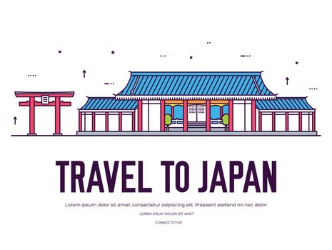 Country Japan travel vacation of place and feature. Set of architecture, item, nature background concept. Infographic traditional ethnic flat, outline, thin line icon