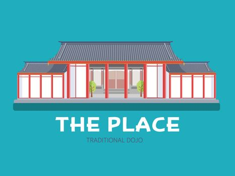 Japanese architecture house in flat design background concept. Japan traditional dojo place. Icons for your product or illustration, web and mobile applications.