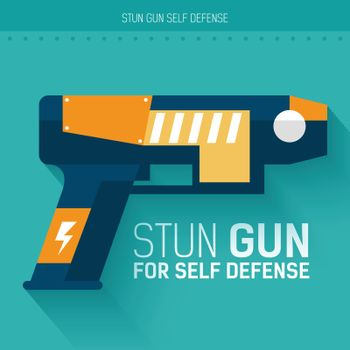 Stun gun for self defense. Vector icon illustration background. Colorful template for you design, web and mobile applications concept