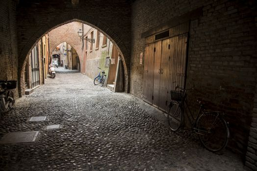 Via delle Volte, ancient medieval street in Ferrara, Italy