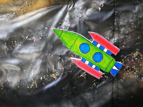 Spacecraft item cartoon in student board