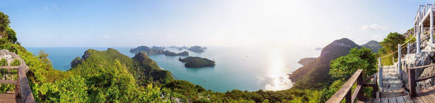 High angle view panorama beautiful nature landscape of sunrise over the sea and island from Ko Wua Ta Lap viewpoint in Mu Ko Ang Thong National Marine Park, Surat Thani, Thailand