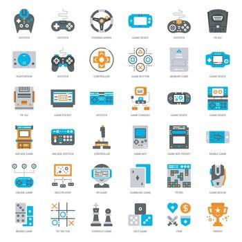 set of game technology flat icon, isolated on white background