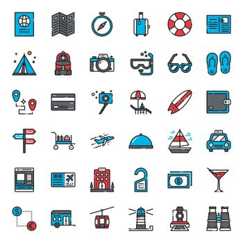travel , pixel perfect filled outline icon, isolated on white background