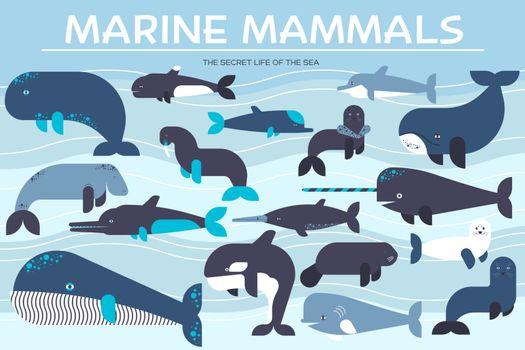 Sea mammals animal collection icons set. Vector fish illustration in ocean life background. Marine exotic creature flat design