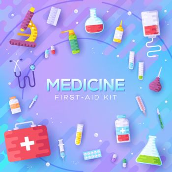 Medicine information background. Medical clinical infographic concept background. Layout illustrations modern pages