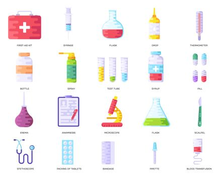Medicine information background. Medical clinical infographic concept set. Layout illustrations modern pages
