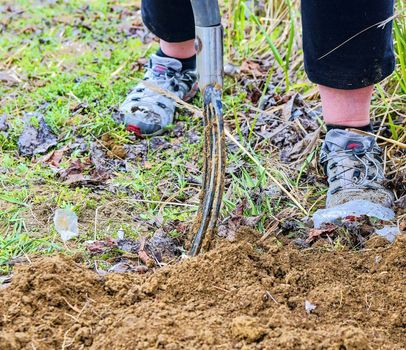 Woman digging soil with garden fork. Gardening and hobby concept. Gardening in the spring.