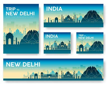India landscape vector banners set. Vector design illustration c