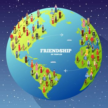 People Friendship. International Day of the World Indigenous Peoples. Vector flat circle concept illustration concept