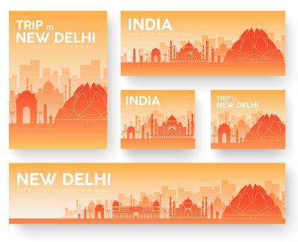 India landscape vector banners set. Vector design illustration concept