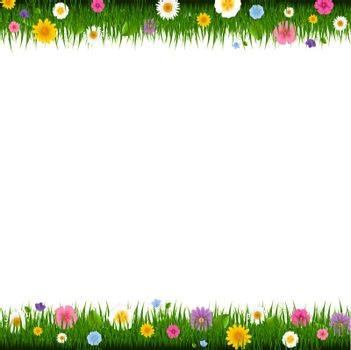 Grass And Flowers Border With Gradient Mesh, Vector Illustration