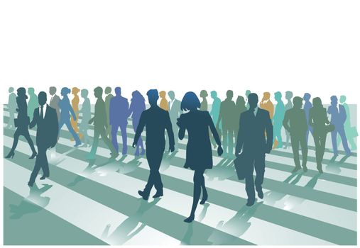 Pedestrian crossing in the city, illustration