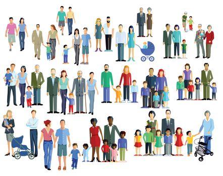 Family members, generation groups, illustration