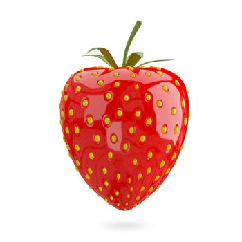 3D Illustration Red Strawberry on a White Background