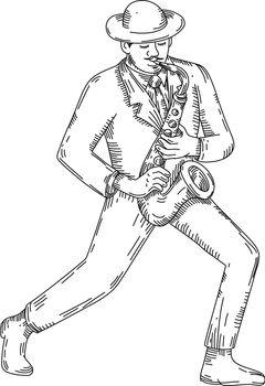 Jazz Musician Playing Saxophone Monoline