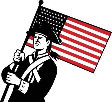 American Patriot Holding Flag Retro