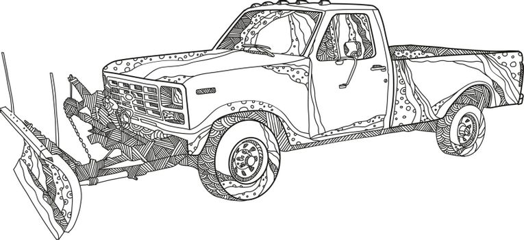 Doodle art illustration of a snow plow or snowplow truck with snow plow blade fitted done in mandala style.