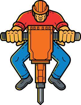 Construction Worker Jackhammer Mono Line Art