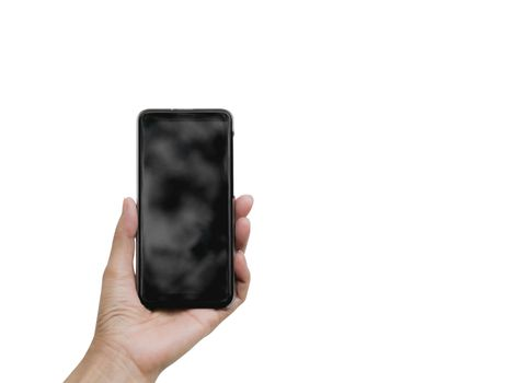 Hand holding smart phone isolated on white background. Technolog