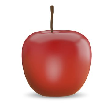 3D Illustration of a Red Apple on a White Background