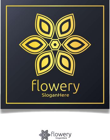 Elegant flower logo icon vector design with gold color design concept. Looped Leaves. Luxury design vector template.