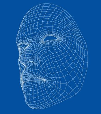 Wire-frame abstract human face