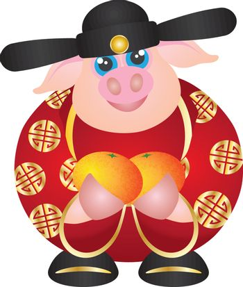 2019 Year of the Pig Money God with Oranges
