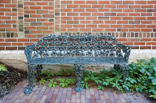nice bench inside a park in Portland, Maine, USA