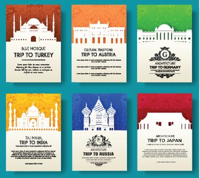 set of art ornamental travel and architecture on ethnic floral flyers. Vector decorative banner of card or invitation design. Historical monuments of Tourkey, Austria, Germany, India, Japan, Russia