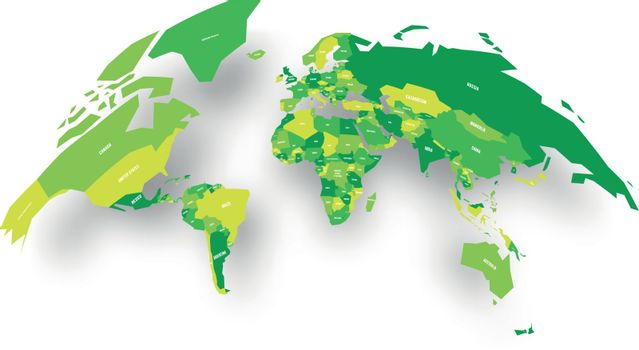 Green political map of World bulging in a shape of globe. 3D vector illustration map with dropped shadow