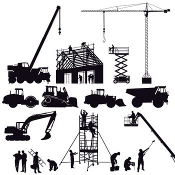 Excavator and crane, wheel loader on the construction site