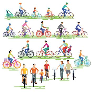 large group of cyclists, illustration