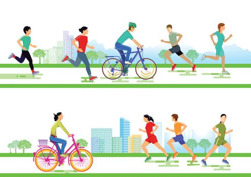 Group of runners and cyclists