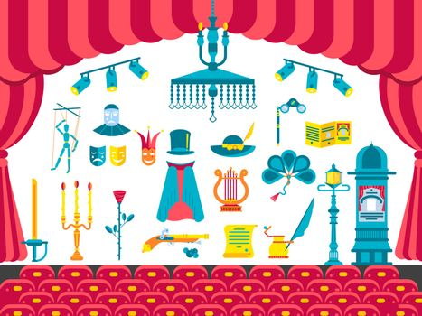Collection of theater icons items design. Performance Interior with any elements set. Entertainment drama, tragedy or comedy illustrations vector background