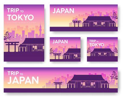 Japan landscape vector banners set. Vector design illustration