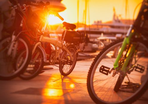 Bicycles in sunset light