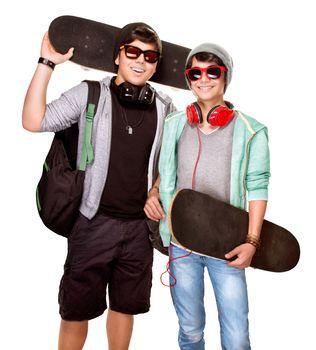 Happy skateboarders