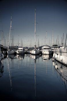 Beautiful sailboats in the harbor