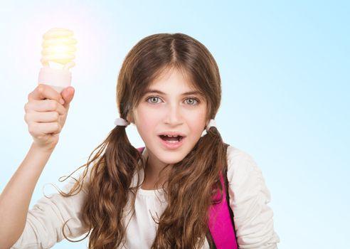 School girl having a good idea