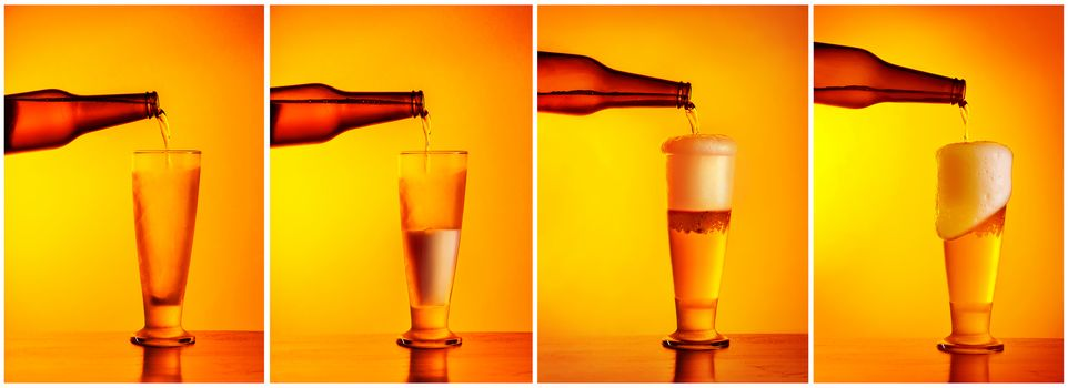 Pouring beer sequence collage