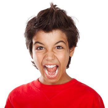 Screaming boy portrait