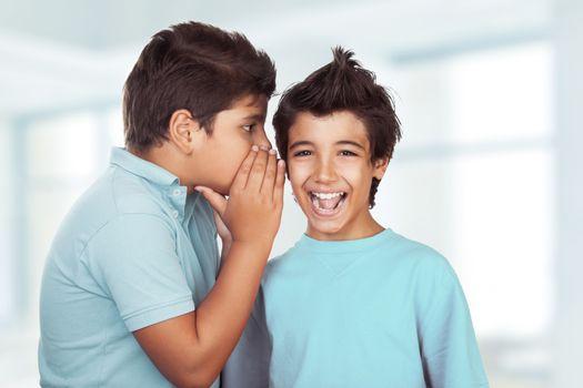 Two happy boys gossiping