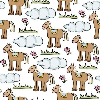 doodle seamless pattern with horses