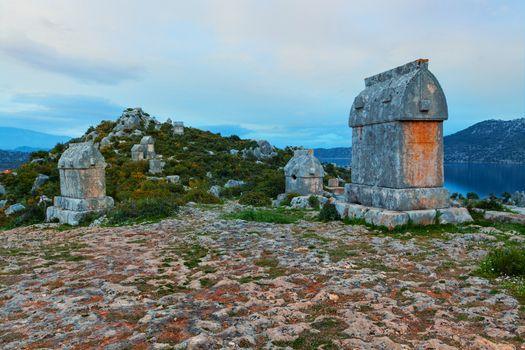 Lycian tombs in Kalekoy. Simena.
