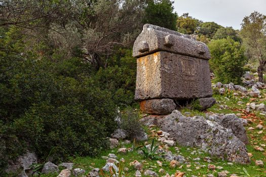 Lycian tombs in Turkey. Ancient city Appolonia