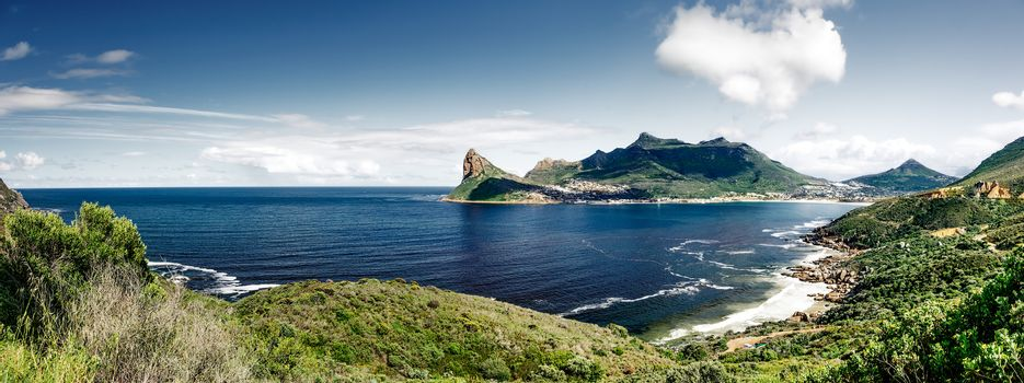 Beautiful landscape, amazing seascape with gorgeous mountains around it, beauty of wild nature, travel to South Africa