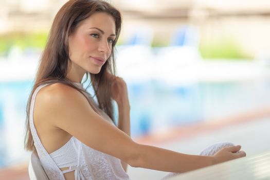 Gentle woman on resort